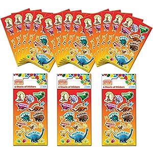 Paper Projects 01.70.24.049 Paquete de pegatinas de dinosaurio para fiesta (18 hojas)