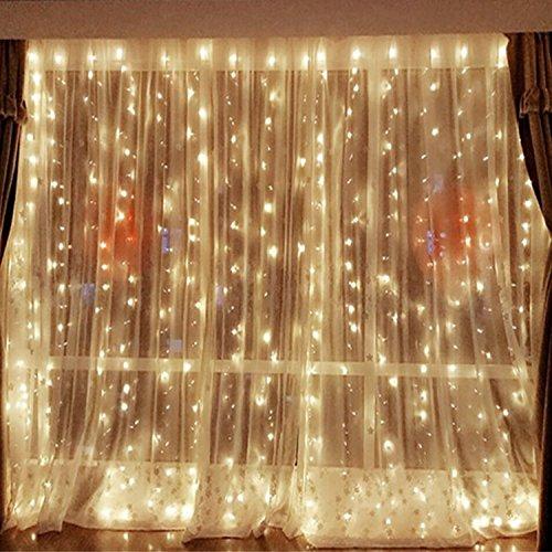 HanLuckyStars 3x3M Luz de Cortina, 304 LED 8 Modos Solares Luces de Hadas de Cuerda [Impermeable] para Exterior y Interior,Jardínes, Hogares, Boda, Fiesta de Navidad (Blanco Cálido)