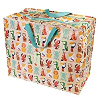 dotcomgiftshop Large Storage Bag with Zip - Strong and Durable 55 x 48 x 28cm 70l - Jungle Animals Print