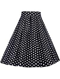 YAANCUNN Mujer Faldas Plisadas Fiesta Coctel Estampadas Elegantes Vintage  Años 50 Etnicas Altas De Cintura Una Línea Falda Midi… 51568bdad1a4