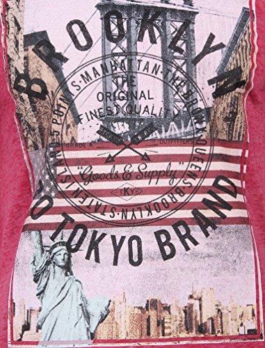 Tokyo Laundry Herren Auburn Point Brooklyn Grafik Druck Burnout Rundhals Kurzärmlig Beiläufig Regulär T-Shirt Größe S-XXL Rosa