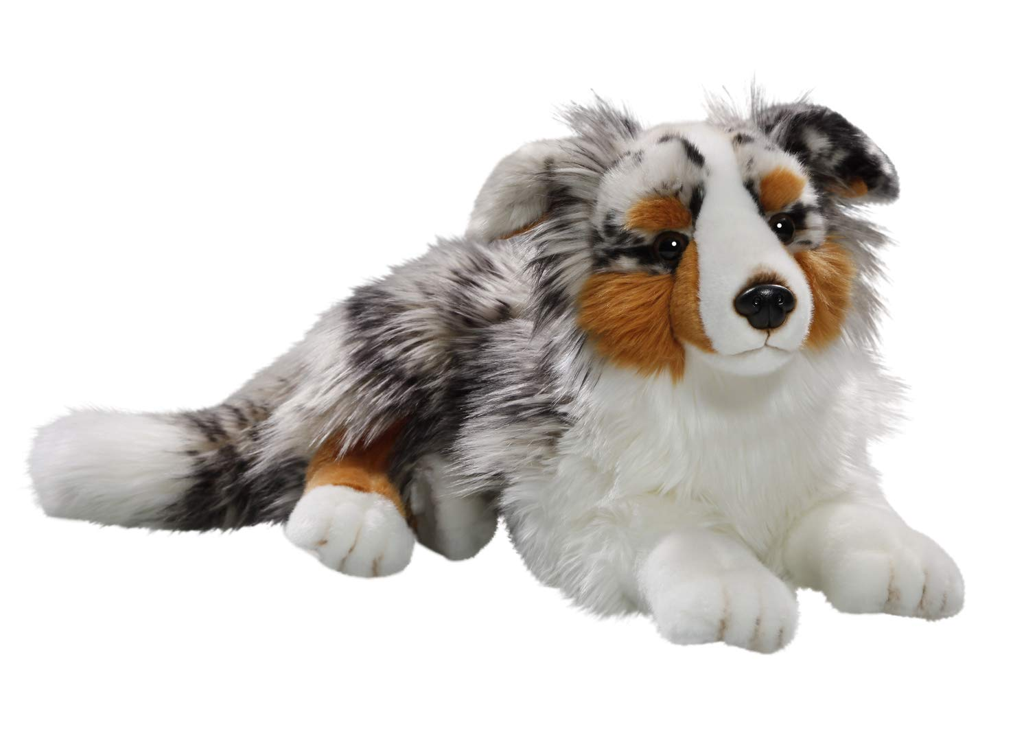 Carl Dick Australian Shepherd Dog lying 17 inches, 43cm, Plush Toy, Soft Toy 3434