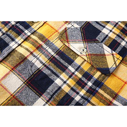 ... Mocotono Herren Langarm Kariertes Hemd Baumwolle Flanell Hemd mit Super  Qualität Gelb ... 407687d554