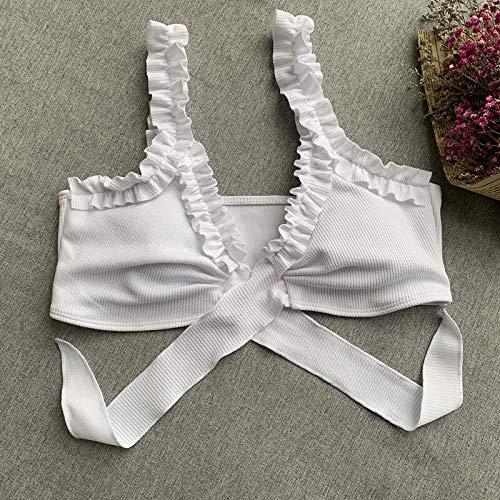 HBINGBING Modelle einfarbige weibliche Bikini Flower Damen Badeanzug Lotus Leaf Brustgurte Split Frauen Mädchen Badebekleidung - 3