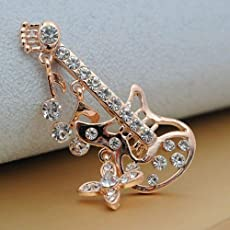 AST Works Luxury Fashion Retro Buckle Brooches Tall Guitar Brooch 1Pcs Pin Crystal