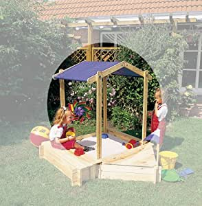 Sand Pit with Height Adjustable Roof Peter Pan 100x100cm