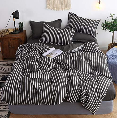 BEDSETAAA Bettwäschesatz Black Stripe Design Schlafzimmer Tagesdecke Kissenbezug-Set 4, 200X230Cm -