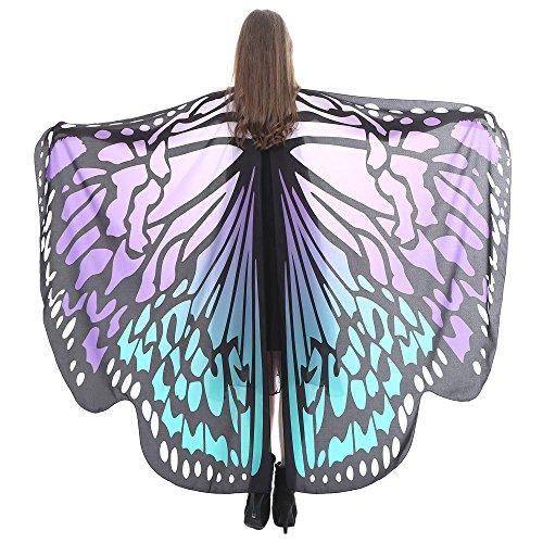 Zegeey Frauen 168 * 135CM Weiche Stoff Farbe Schmetterlingsflügel Fee Flügel Schal Damen Nymphe Pixie Halloween Cosplay Weihnachten Cosplay Kostüm Zubehör