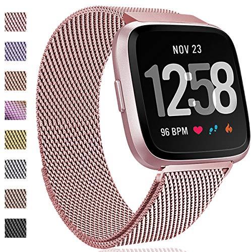Hamile Kompatibel für Fitbit Versa Armband/Fitbit Versa Lite Edition, Metall Ersatzarmbänder mit Starkem Magnetverschluss für Fitbit Versa Smartwatch, Klein Roségold