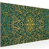 Bilder Mandala Abstrakt Wandbild 200 x 80 cm Vlies - Leinwand Bild XXL Format Wandbilder Wohnzimmer Wohnung Deko Kunstdrucke Grün 5 Teilig - MADE IN GERMANY - Fertig zum Aufhängen 107455b