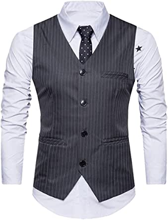 SYTX Mens Striped Sleeveless Single breasted Suit Vests Formal Waistcoat