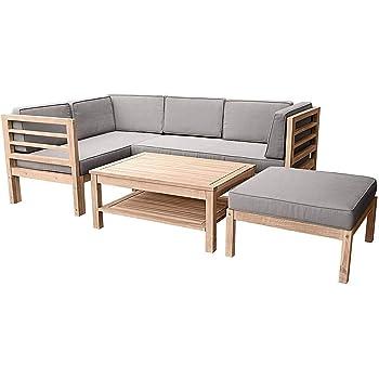 outliv loungem bel holz odense loungegruppe 3 teilig braun akazie teak look. Black Bedroom Furniture Sets. Home Design Ideas