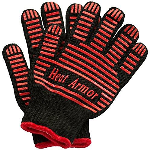 1 Paar professionelle Hitzeschutzhandschuhe, bis 500°C, Grillhandschuhe, Ofenhandschuhe, BBQ-Handschuhe, Küchenhandschuhe, schwarz, rote Silikonapplikationen für verbesserte Haftung, maschinenwaschbar