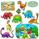 Puzzles pour Vieux de 3ans, Dinosaure puzzle Jouets pour minimum 3ans, enfants, garçons, filles, les tout-petits et les enfants, sur le dessus d'anniversaire et éducatif Jouets de bain, puzzle pour bébé.