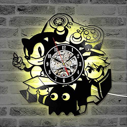Mcolk Wanduhr Vinyl Sonic Spiel Schallplatte Uhr Kreative Antiken Stil Wanddekor Led Uhr Geschenk Für Kinder Stille Schallplatte Uhr Mit 7 Uhr