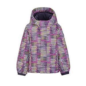 Killtec Mädchen Stripy Mini Skijacke / Funktionsjacke mit Kapuze und Schneefang, GROW UP Funktion – Kindermode die mitwächst