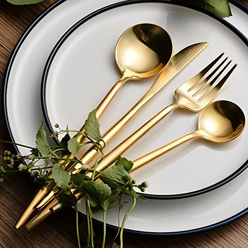 Cutlery Set Stainless Steel 18/10, AYADA Tableware Long Rounded Handle Heavy Weight Flatware 4 Pieces per Set (Table Knife/Fork/Spoon and Dessert Spoon) - Matte, Gold