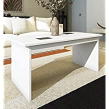 HOGAR24 - Mesa de centro elevable Lima blanca con cristales contrastados en negro