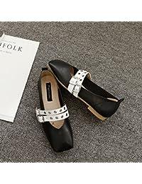 Xue Qiqi Zapatos de la Corte Fang Fangping con Zapatos Planos Femeninos de Boca Baja Zapatos Planos Huecos Casuales...