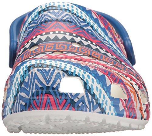 Crocs Unisex Classic Graphic Croslite Clogs Blue Jean/White