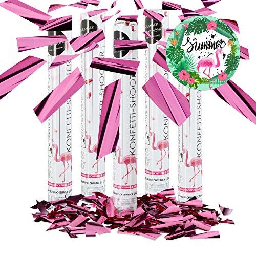 5er Set Party Popper Pink, Party Shooter Metallic, 40 cm Konfetti Kanone für Junggesellinnenabschied, JGA, Geburt, rosa