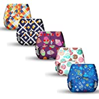 superbottoms Basic 5 Certified Soft Fleece Lined Pocket Diaper with 5 Wet Insert with Snaps (One Size, 5-17 Kg) - Pack…