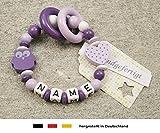 Baby Greifling Beißring geschlossen mit Namen | individuelles Holz Lernspielzeug als Geschenk zur Geburt & Taufe | Mädchen Motiv Eule und Herz in lila flieder