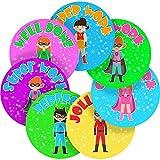Adorable Girl Superhero Reward Sticker Labels, 70 Stickers @ 2.5cm, Glossy Photo Quality, Ideal for Children Parents Teachers Schools Doctors Nurses Opticians Pupils Classrooms Merit Motivation Praise