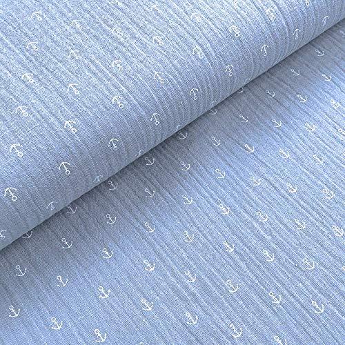0,5m Musselin Anker-Muster hellblau Meterware 1,4m breit