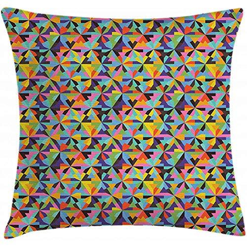 2Stück Geometrische Throw Pillow Kissenbezug, Wirren Design der bunten dreieckigen Formen Grunge-Effekt zeitgenössische Kunstwerke, dekorative quadratische Akzent Kissenbezug, 18 'x 18', Multicolor -