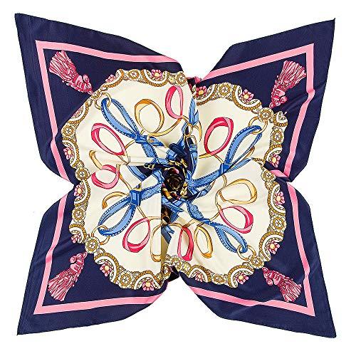 ICEIVY Damen Schal, Kopftücher Halstuch Schal Frauen Elegant Seidenschal Business Seidentuch Scarf,Bandana,Taschentuch,Ansatz Handgelenk Verpackungs (marine(100 x 100 cm))