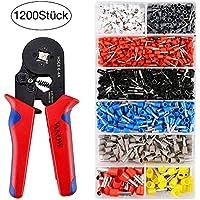 Vanow - Juego de casquillos y herramientas de engarce, alicates engarzadores con herramienta de engarce y terminales de cable, 1200 unidades. 0.25-10mm² (alicates rojos 1)