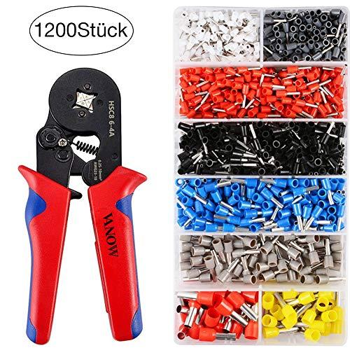 Aderendhülsen Crimpzangen Set, Vanow Crimper Zange mit 1200 PCS Aderendhülse Kabelschuhe Crimpwerkzeug 0.25-10mm² (Rot zange 1)