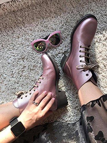 LEENA G Damen Comfort Wildleder Stiefel Boots im frischen Violett (Lila Wildleder-boot)