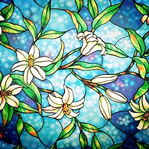 Lifetree Fensterfolie Glasmalerei Dekorfolie Sichtschutzfolie Privatsphäre Statisch haftenden Glasaufkleber Ohne Kleber Milchglasfolie Orchidee (45 x 200 cm)