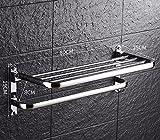 Towel Rack USDFJN USDFJN Handtuchhalter Badetuchstange Schrank Wandmontierte Badezimmer Duschablage Lagerung Veranstalter 0617 Edelstahl klappbar mit Single Handtuchhalter 60 cm