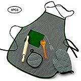 KOBWA Kinderkostüm-Set zum Kochen und Backen, 6-teilig, inklusive Schürze, Ofenhandschuh, Handmixer, hitzebeständige Matte, Holzlöffel und Nudelholz für Kinder