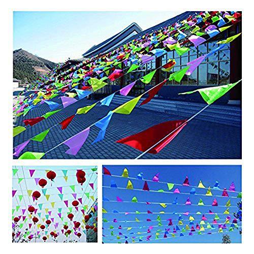 61oazTqNqhL - EDATOFLY 240M Multicolor Bandera banderín 450 Banderas banderines de Nailon Guirnalda de triángulo Decoraciones Banderas para Boda Decoracion cumpleaños Fiesta al Aire Libre jardín