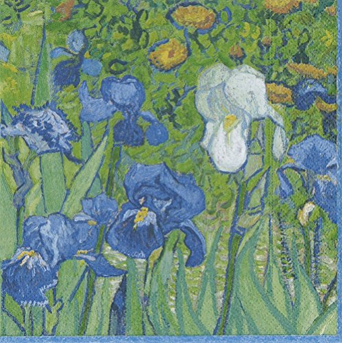Cocktail Servietten Papier für Bridal Dusche Hochzeit Geburtstag Party Van Gogh Schwertlilien 20er-Packung grün (Servietten Hochzeit Dusche)