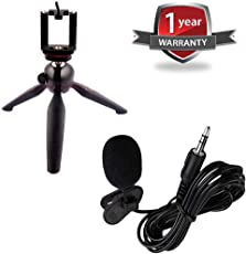 Advotis world 228 Portable Mobile and Camera monopod with Professional Mini Lapel Microphone 3.5mm Jack for Apple and Android Devices