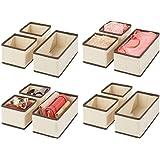 mDesign organisateur de tiroir (lot de 12) – boite de rangement respirante pour chaussettes, lingerie, etc. – rangement tiroi