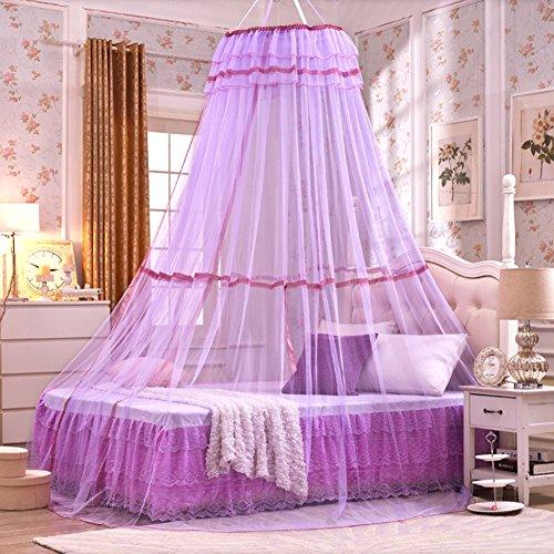 Unbekannt Pro, mit Netz-Vorhänge, Betthimmel, rund, mit Spielzelt, Moskitonetz für Schlafzimmer 110.24in, Ø 70cm, Höhe 140cm 27.56in, Polyester, violett, Einheitsgröße