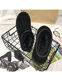 Señora Invierno Cálido Y Cómodo Botas de Nieve Simples Botas Bajas de Color Sólido,Negro,39