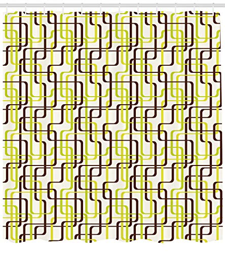 h Duschvorhang, 60er Jahre Mode inspiriert, mit 12 Ringe Set Wasserdicht Stielvoll Modern Farbfest und Schimmel Resistent, 175x220 cm, Kastanienbraun Apfelgrün Creme ()