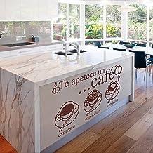vinilo decorativo ¿te apetece un café? Color marrón. Medidas: 100x55cm