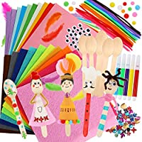 Caydo 10 Sets Wooden Spoons Kit including Pipe Cleaner, Pom Poms, Felt, Wiggle Eyes, Feather, Origami Paper and Acrylic Flatback Rhinestones for Kids School Class Art Craft activity