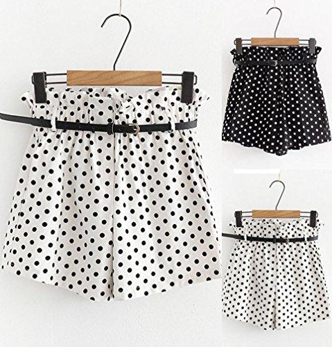 ESAILQ-Shorts-Women-Retro-Dot-Print-Casual-Elastic-Waist-Pocket-Pants-with-Belt