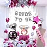 SOI Bride to Be Complete Decoration Combo for Bride Bachelorette Party Decoration Sash Star Heart Round Foil Balloons (Pack o