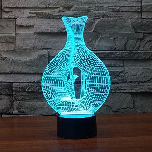 alisabler 3D Lampe Vogelkäfig Nacht 7Farbwechsel Best Geschenk Nachtlicht LED Einrichten Schreibtisch Tisch Beleuchtung Home Dekoration Spielzeug