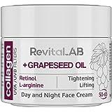 RevitaLAB - Crème de jour et de nuit au collagène hydratante et anti-âge, enrichie en acide hyaluronique, L-arginine, rétinol